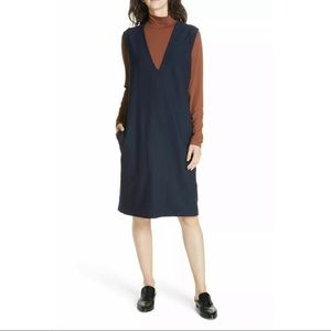 New Eileen Fisher Navy Blue Vneck Stretch Dress